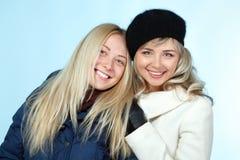 Macierzysty i nastoletni córki zimy portret zdjęcie royalty free
