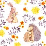 Macierzysty królika i mum jeż ściska dziecka zwierzęcia Akwarela malujący bezszwowy wzór Zdjęcia Royalty Free