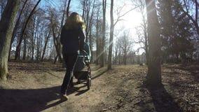 Macierzysty pchnięcia dziecka fracht w wiosna parka lipowego drzewa alei 4K zdjęcie wideo