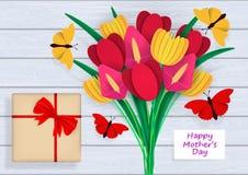 Macierzysty ` s dnia kartka z pozdrowieniami Jaskrawy, kolorowy bukiet kwiaty z li??mi, Barwiony papierowy ciie za abstrakcjonist royalty ilustracja