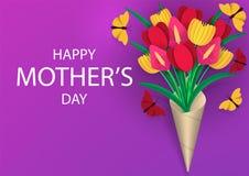 Macierzysty ` s dnia kartka z pozdrowieniami Jaskrawy, kolorowy bukiet kwiaty z li??mi, Barwiony papierowy ciie za abstrakcjonist ilustracja wektor