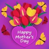 Macierzysty ` s dnia kartka z pozdrowieniami Jaskrawy, kolorowy bukiet kwiaty z li??mi, Barwiony papierowy ciie za abstrakcjonist ilustracji