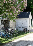 Macinac Island. A shot of many bikes parked along a building in mackinac island Stock Images