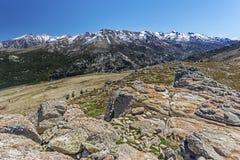 Macizo de Monte Rotondo Mountain en Córcega central foto de archivo