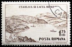 Macizo y lago Bicaz, serie turístico de Ceahlau de los puntos de la montaña, circa 1964 fotos de archivo libres de regalías