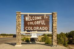 Welcome to Colorful Colorado road sign stock photo