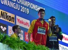 Mack Horton stands away from the winner Sun Yang