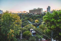 Macka Democracy Park with cable car on October. STANBUL, TURKEY : Macka Democracy Park with cable car teleferik on October 5, 2018 stock image