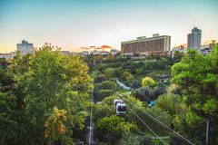 Macka Democracy Park with cable car on October. STANBUL, TURKEY : Macka Democracy Park with cable car teleferik on October 5, 2018 royalty free stock image