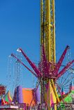 A Fast Thrill Ride At A Funfair. MACKAY, QUEENSLAND, AUSTRALIA - JUNE 2019: A fast thrill ride for older children, teenagers and adults at Mackay Annual Show stock photography