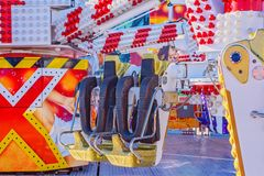 A Fast Thrill Ride At Traveling Carnival. MACKAY, QUEENSLAND, AUSTRALIA - JUNE 2019: A fast thrill ride for older children, teenagers and adults at Mackay Annual royalty free stock photography