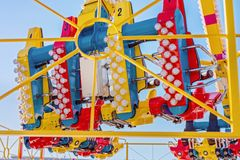 A Fast Thrill Ride At A Traveling Carnival. MACKAY, QUEENSLAND, AUSTRALIA - JUNE 2019: A fast thrill ride for older children, teenagers and adults at Mackay royalty free stock image