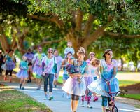 Families Enjoying Color Frenzy Fun Run. MACKAY, QUEENSLAND, AUSTRALIA - JUNE 2019: Unidentified women and children enjoying Color Frenzy Fun Run royalty free stock photos