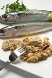 Mackerel. Fiillet with fresh ingredients on white dish Stock Photos