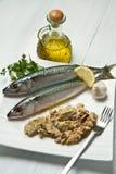 Mackerel. Fiillet with fresh ingredients on white dish Stock Image