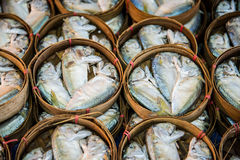 Mackerel. Steamed  mackerel  in the basket Royalty Free Stock Images