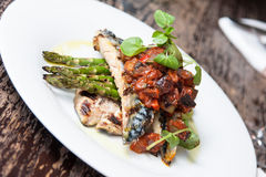 Mackerel with asparagus Royalty Free Stock Photos