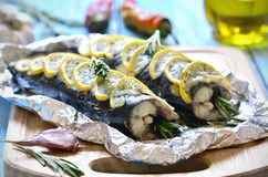 Mackerel baked in a foil. Royalty Free Stock Image