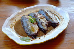 Mackerel boiled in soy bean sauce Stock Images