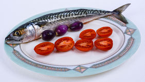 Mackerel with cherry tomatoes and red onions Stock Image