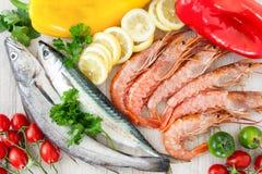 Mackerel, Codfish And Prawns Royalty Free Stock Photo