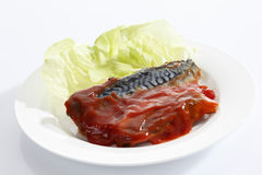 Mackerel filet and tomato sauce on plate Stock Photo