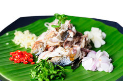 Mackerel fillet. Thai food spice salad with mackerel Stock Photos