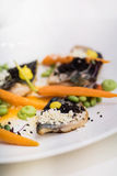 Mackerel fillets with baby carrots Stock Images