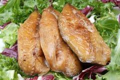 mackerel fillets on fresh organic lettuce Royalty Free Stock Photo