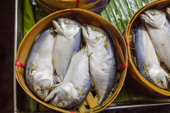 Mackerel fish. In bamboo basket Stock Image