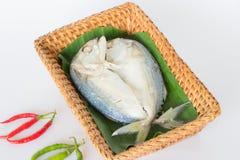 Mackerel fish. Mackerel fish in bamboo basket Stock Photography