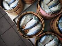 Mackerel fish in basket. Thai market Royalty Free Stock Images