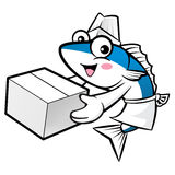 Mackerel Fish Character is Holding a Fresh Food Box. Stock Images