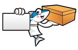 Mackerel Fish Character is Holding a Fresh Food Box and business Royalty Free Stock Photos