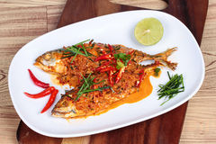 Mackerel fish fried topped a spicy curry on wood Royalty Free Stock Photography
