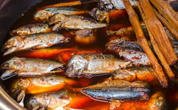 mackerel fish marinated in soy sauce Stock Photos