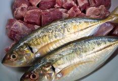 Mackerel fish and Pork bones. Food ingredients Mackerel fish and Pork bones Royalty Free Stock Image
