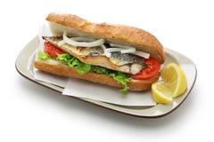 Mackerel fish sandwich,balik ekmek,turkish food Royalty Free Stock Images
