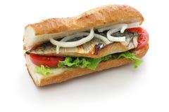 Mackerel fish sandwich,balik ekmek,turkish food. Isolated on white background Stock Images
