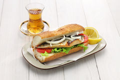 Mackerel fish sandwich,balik ekmek,turkish food stock photography