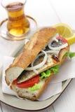 Mackerel fish sandwich,balik ekmek,turkish food Stock Images