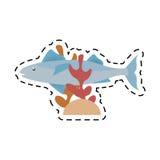 Mackerel fish sea life coral line dotted Royalty Free Stock Photos