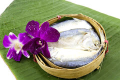 Mackerel fish steamed in bamboo basket Stock Photos