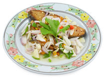 Mackerel fish topping with sliced shallot and chilli  isolated on white background Stock Images