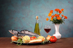Mackerel fish with vegetables and wine Stock Photos