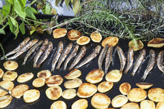 Mackerel fishes  with potatoes on grill plate Royalty Free Stock Images