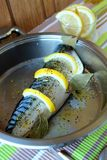 Mackerel, flavored with spices and lemon Royalty Free Stock Image