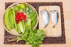 Mackerel and fresh vegetables ingredients Stock Images