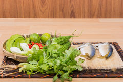 Mackerel and fresh vegetables ingredients Royalty Free Stock Photo