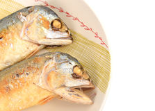 Mackerel fried on a dish Royalty Free Stock Images
